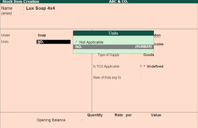 Stock Items in tally erp 9