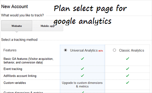 analytics sign up and Installation in wordpress step 3