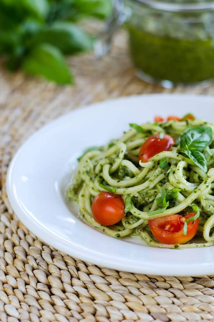 Zucchini Pasta Pesto | Cook Eat Paleo