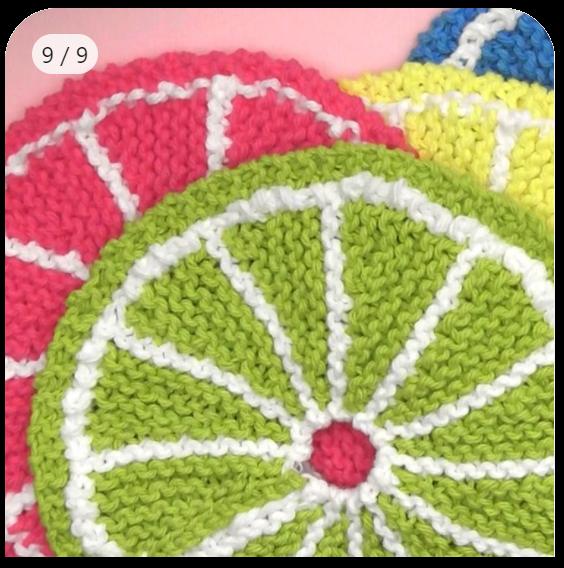 Tricotar um pano de prato de frutas