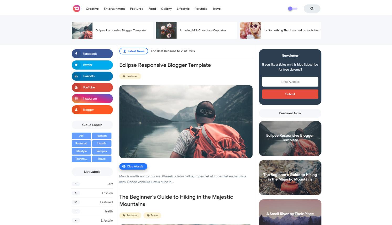 Eclipse V1 Premium Responsive Blogger Template [Free]