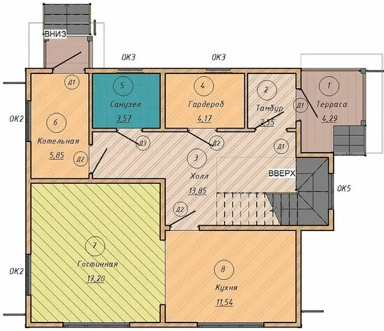 Rooms in a house with an area of 80