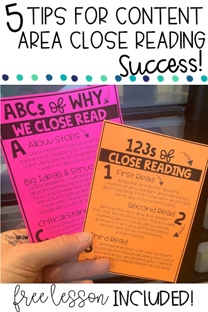 nonfiction close reading anchor charts