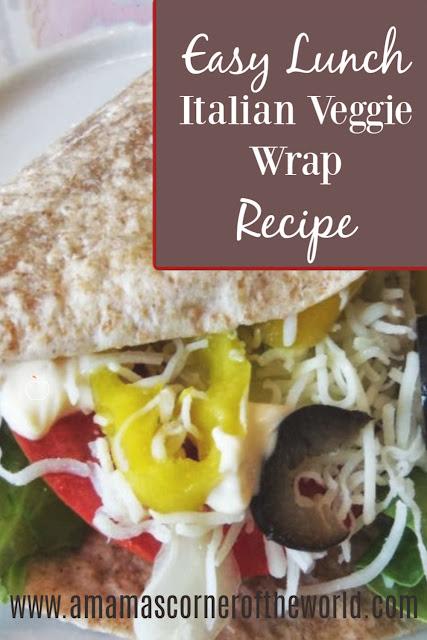 pinnable image for an italian veggie wrap recipe