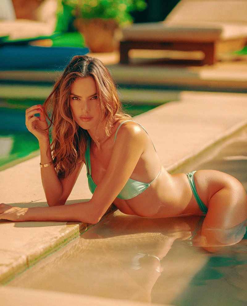 Heating up the pool, Alessandra Ambrosio models her Gal Floripa swimsuit line