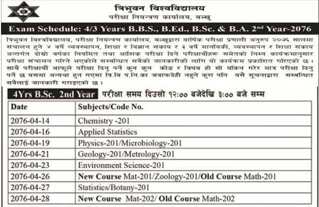 Exam Routine 4 years BSc 2nd year schedule 2076