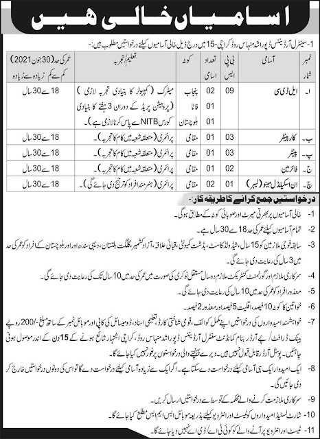 Pak Army Central Ordinance Depot COD Latest Jobs Opportunity 2021