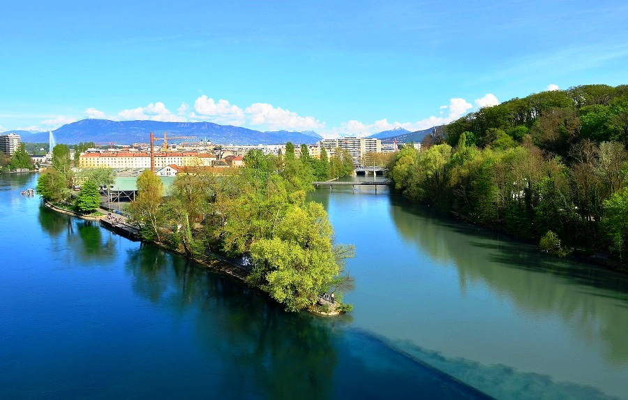 The Confluence Of Rhone And Arve Rivers Geneva