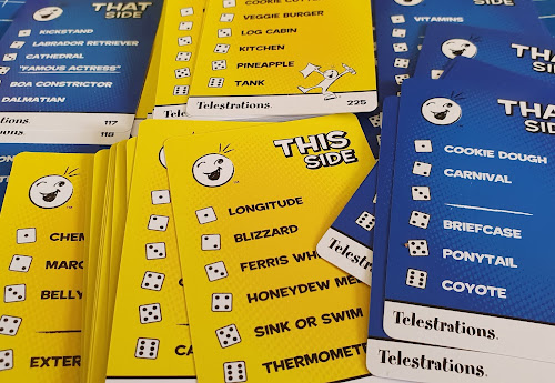 Telestrations party game card word examples this side that side