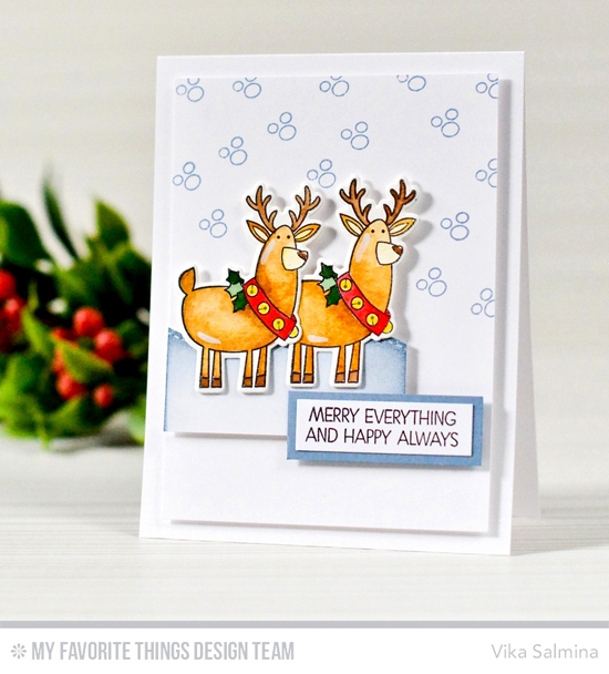 Handmade card from Vika Salmina featuring Merry Everything stamp set and Die-namics, Stitched Snow Drifts Die-namics #mftstamps