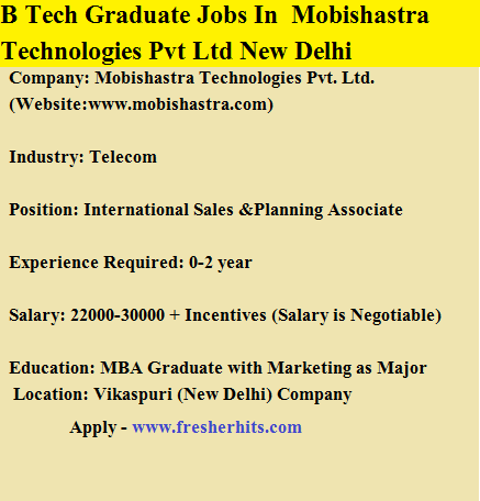 B Tech Graduate Jobs Opening In Mobishastra Technologies Pvt Ltd