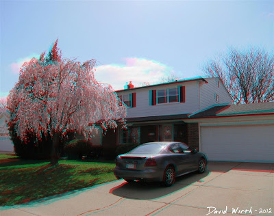 3d red cyan blue house car tree