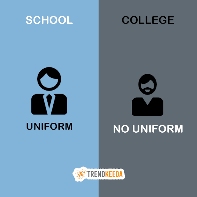 school life vs college life infographic com school vs college life no uniform