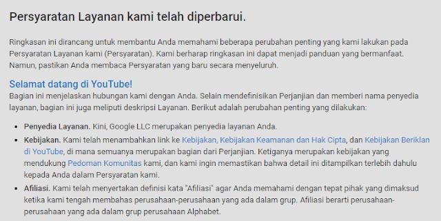 Persyaratan Layanan Youtube telah diperbarui