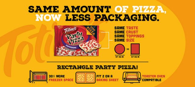 totino's pizzas are now rectangular and come in bags
