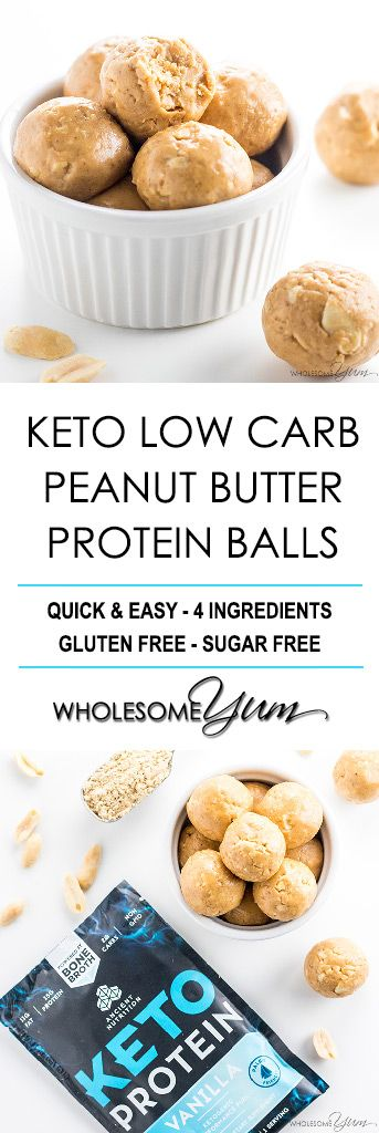 KETO LOW CARB PEANUT BUTTER PROTEIN BALLS RECIPE – 4 INGREDIENTS