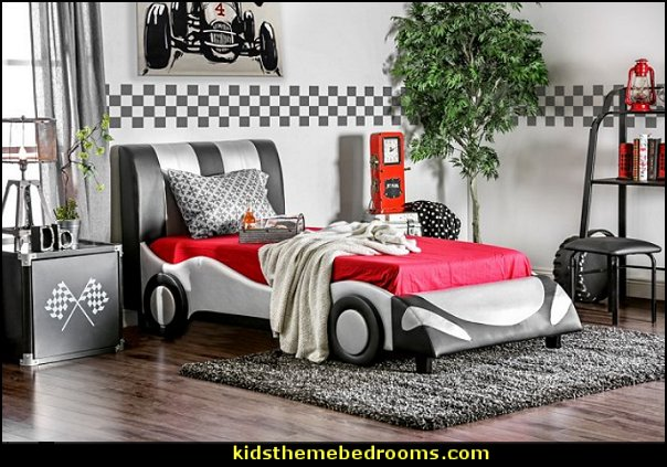 car beds car bedrooms Silver Striped Speedster kids bed car racing bedrooms garage themed bedrooms