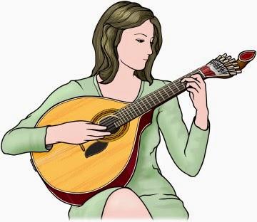 ポルトガル・ギターを演奏する女性のイラスト
