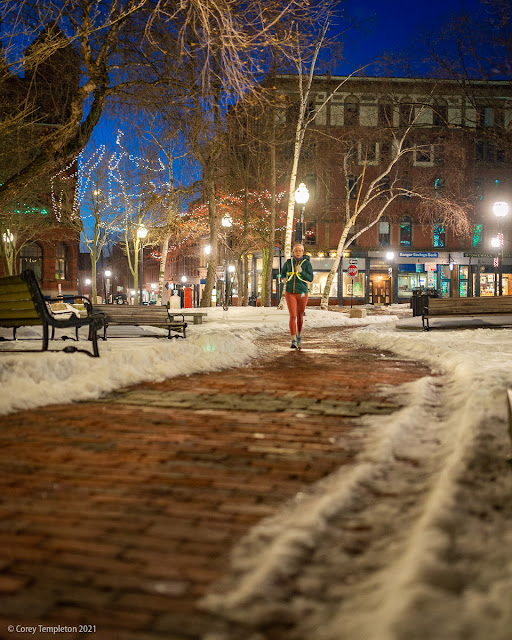 Portland, Maine USA February 2021 winter jogging in Post Office Park photo by Corey Templeton.