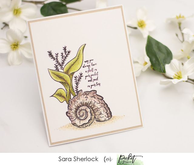 Picket Fence Studios, Nautilus Shell Scene, Prismacolor pencils, handmade card, stamping, coloring
