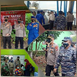 Kunjungan Kapolres lingga dan Komandan lanal Dabok Singkep dalam rangka Nasi Kapau Di kecamatan Selayar