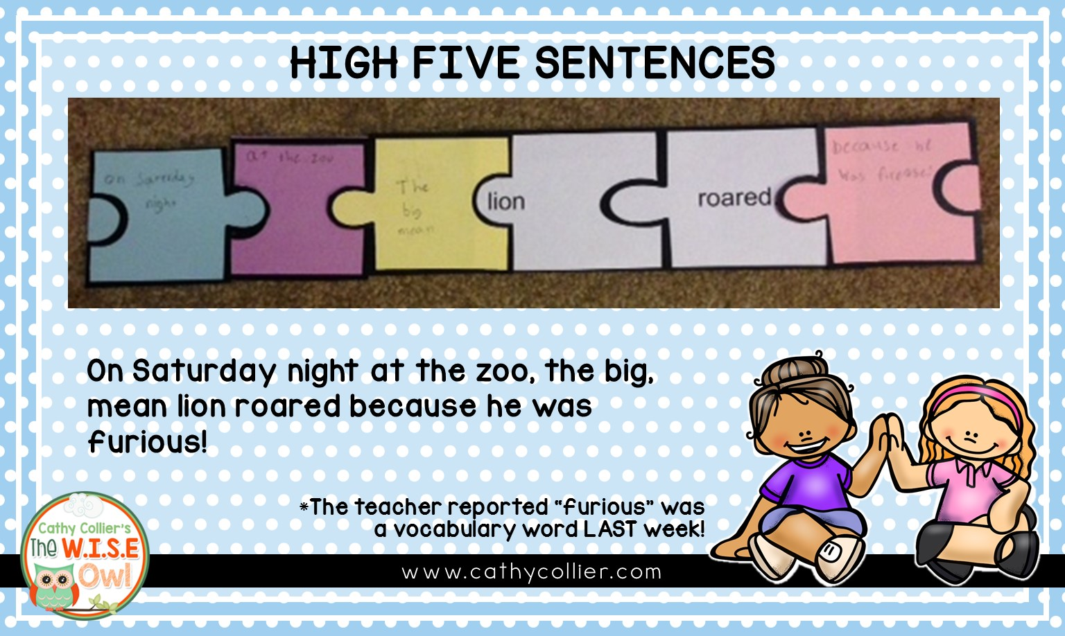 Providing students with an easy method for writing complex sentences can make all the difference in their writing. Their writing will be ready for lots of High Fives.