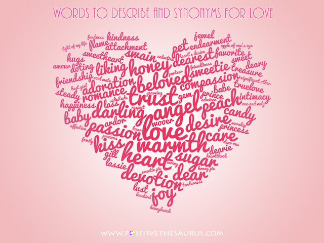 synonyms for love and loved one heart word cloud