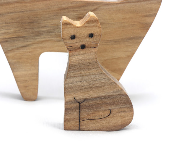 Handmade Animal Family Stacking Cats & Kittens Puzzle
