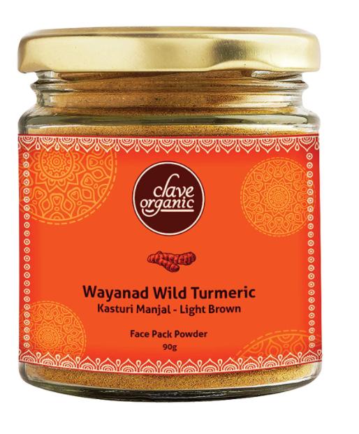 Clave Organic India Wayanad Rare Variety Vegan No Chemicals Kasturi Manjal (Wild Turmeric ) Powder in Eco-Friendly Glass Jar - 90g