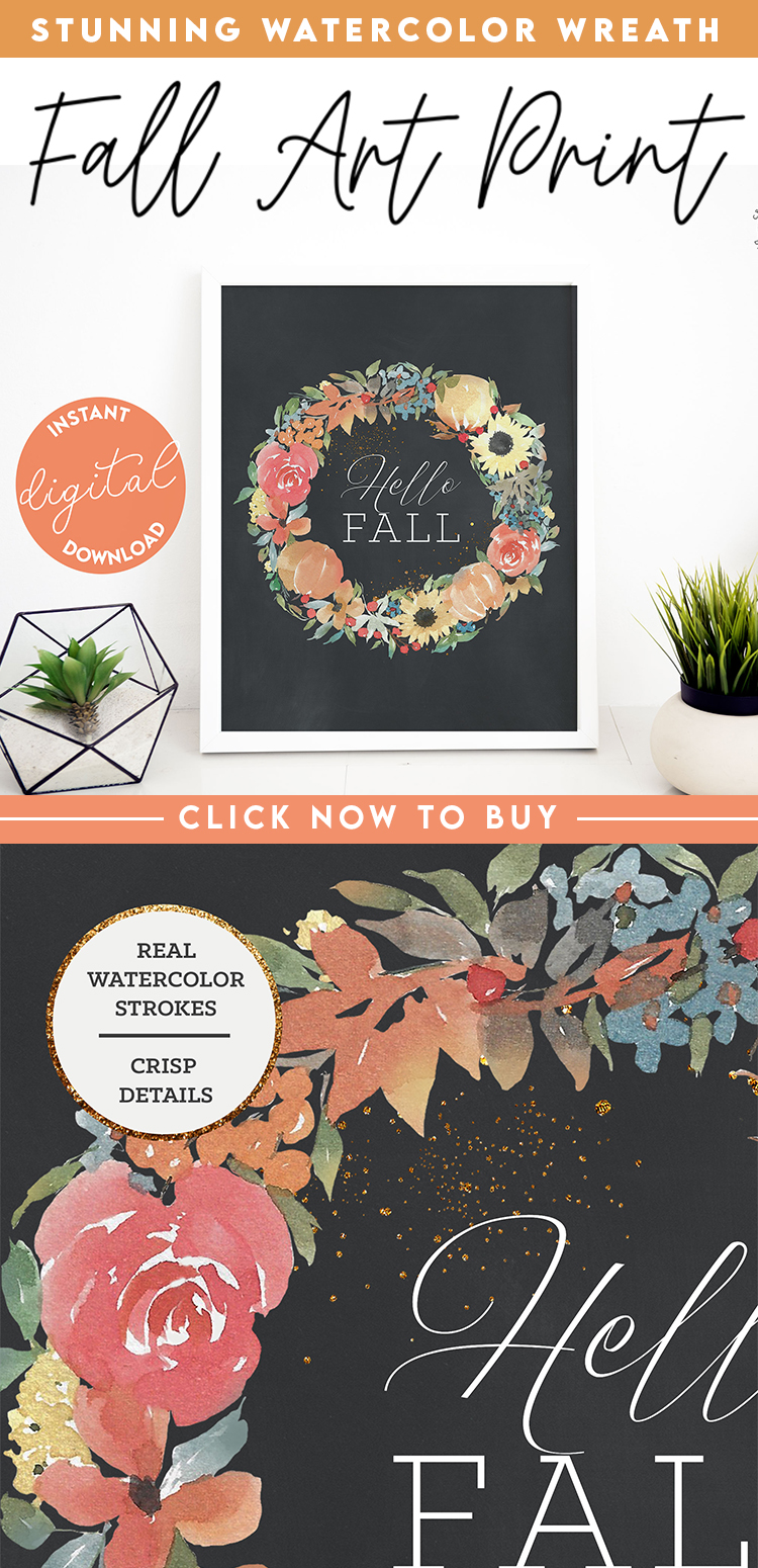 Fall Wreath Watercolor Rustic Wall Decor | Digital Autumn Art Print | Pumpkins and florals painting by Craft A Doodle Doo on Etsy #fallflorals #falldecorinspo #fallwallart #fallprintables