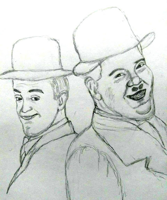 PENCIL DRAWING - Laurel and Hardy