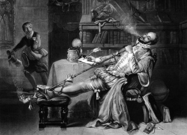 Sir Walter Raleigh fece due spedizioni per trovare El Dorado. 'La prima pipa di Raleigh in Inghilterra' di Frederick William Fairholt, 1859.