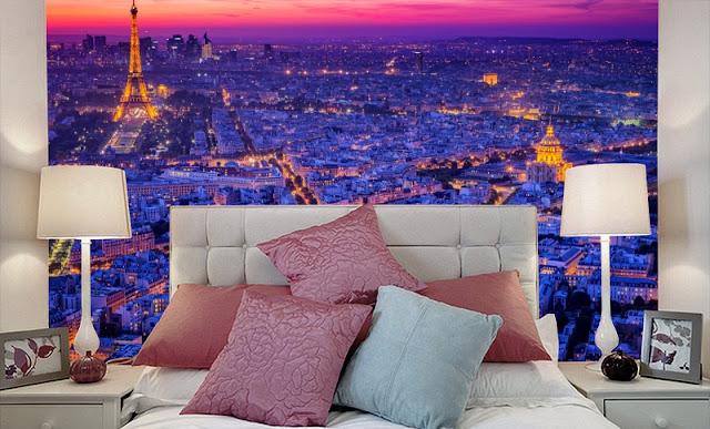 Maisematapetti Makuuhuone Paris Tapetti Pariisi