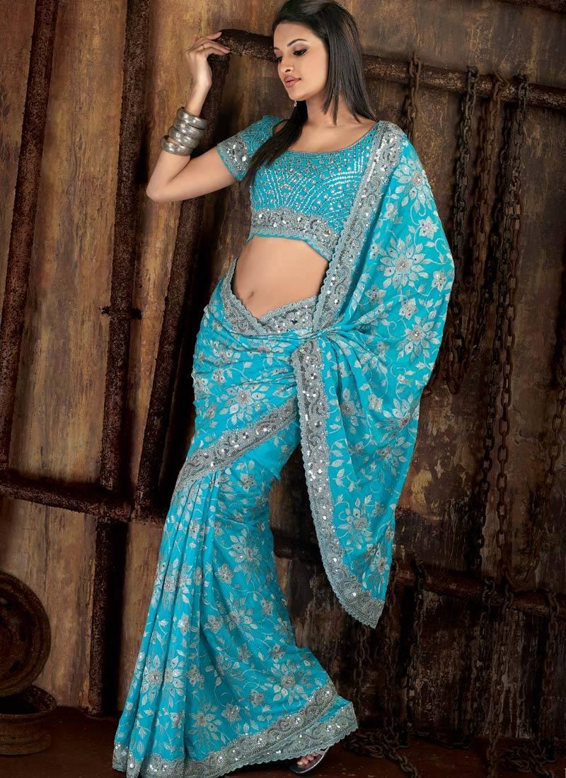 Sayali Bhagat In Blue Saree  Designer And Bridal Saree -5948
