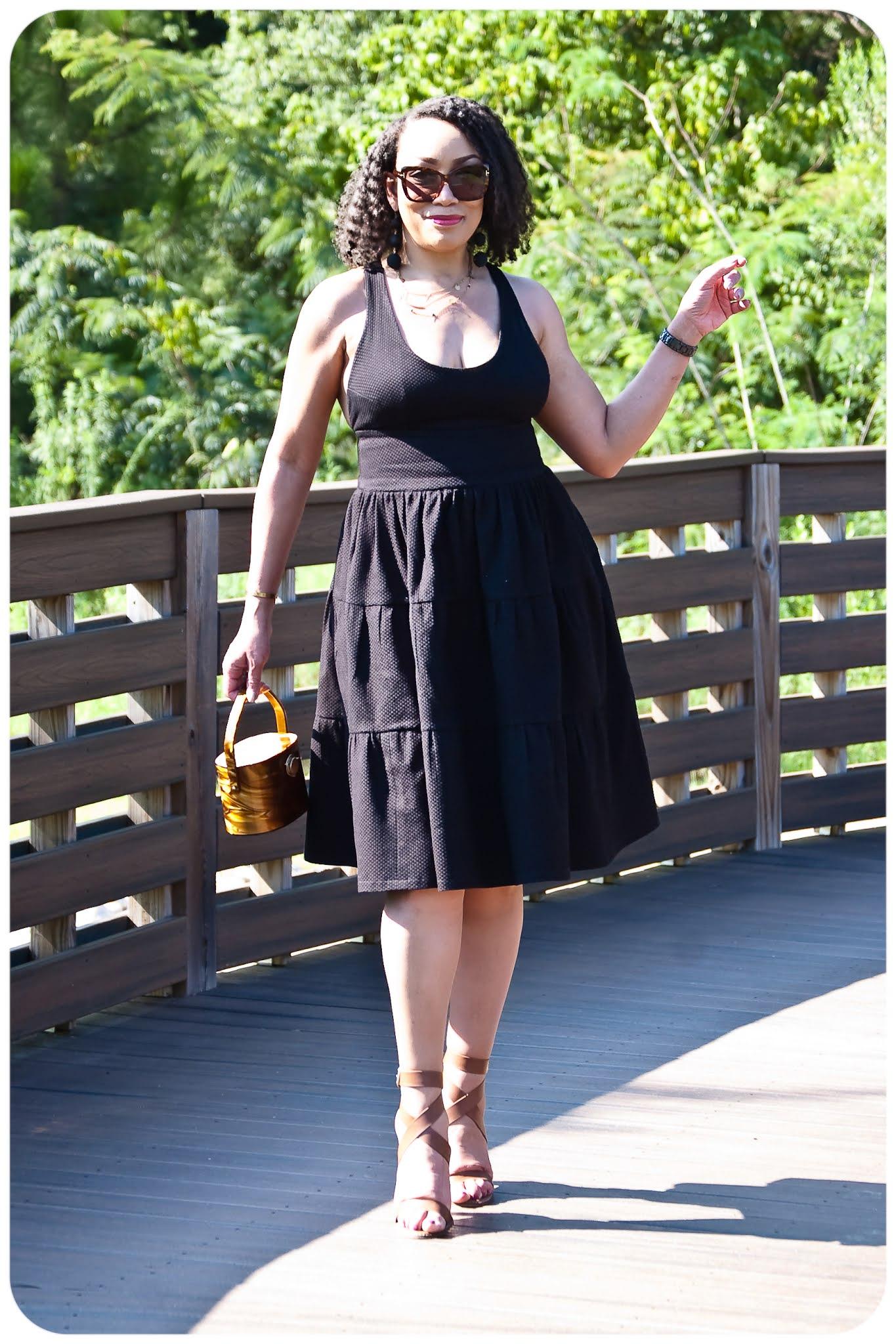 Black Tiered Crossback Sundress - Erica Bunker DIY Style!