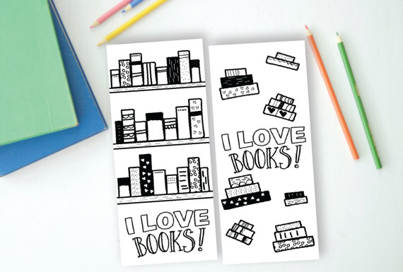I Love to Read Books Coloring Bookmarks Printable