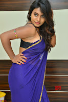 Actress Priya in Blue Saree and Sleevelss Choli at Javed Habib Salon launch ~  Exclusive Galleries 043.jpg