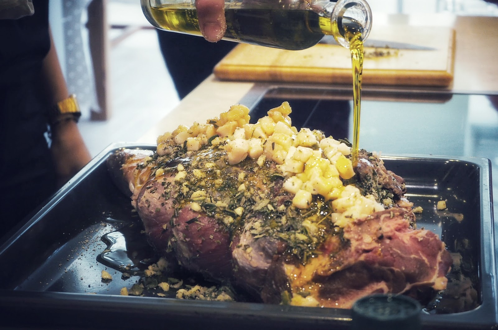 Italian wild boar stuffed with fresh herbs and pork fat topped with olive oil