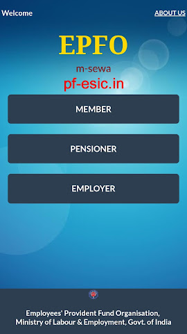 m-epf app home Screen