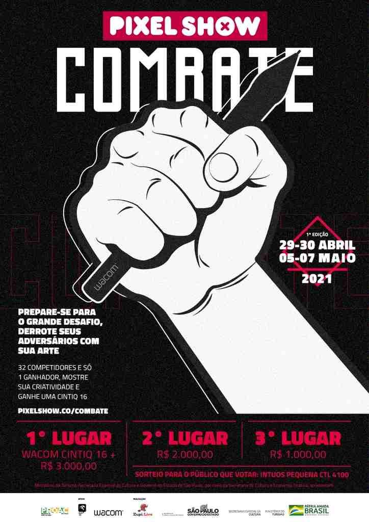 O Pixel Show, maior Festival de Criatividade da América Latina, organizado pela Zupi.Live, acaba de lançar o edital de inscrição para o Pixel Show Combate 2021, um desafio online voltado a estimular e divulgar artistas independentes, que ocorrerá de 29 de abril a 6 de maio.