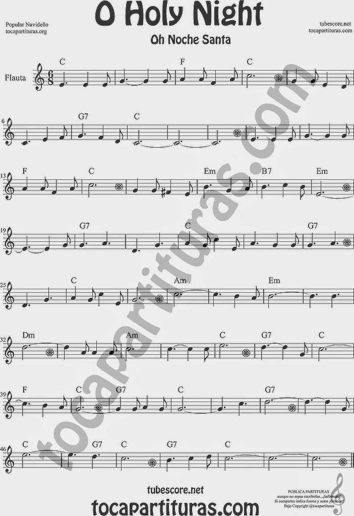 O Holy Night Partitura de Flauta Travesera, flauta dulce y flauta de pico Sheet Music for Flute and Recorder Music Scores Oh Noche Santa