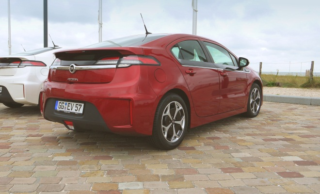 Red Opel Ampera from the rear