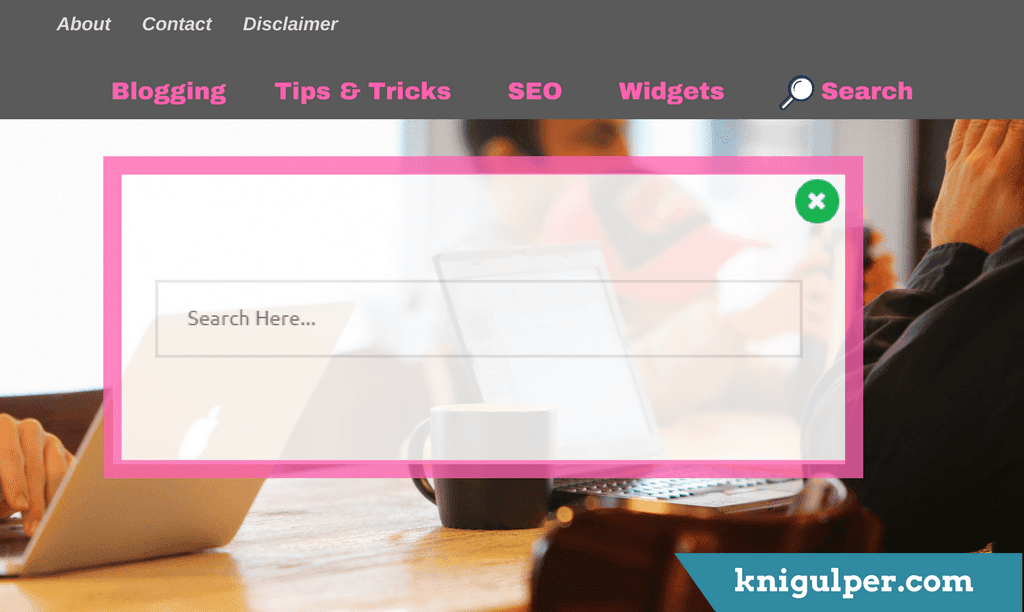 Onclick Popup Search Bar Widget For Blogger