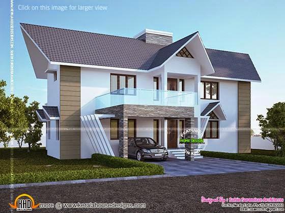 Slanting roof house design