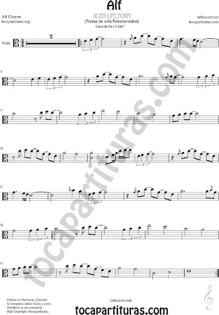 Alf Partitura de Viola Sheet Music for Viola