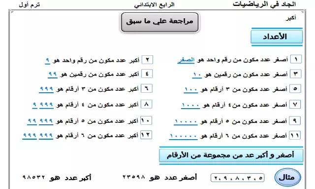 مذكرة مراجعة الرياضيات منهج الصف الرابع الابتدائي الترم الاول
