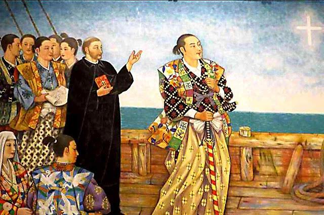 O Beato Justo Takayama Ukon e 350 católicos deportados para as Filipinas. O Beato levava escondida a Nossa Senhora do Rosário
