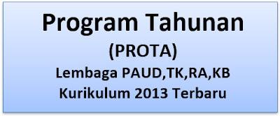 Program Tahunan (PROTA) Lembaga PAUD,TK,RA,KB K13 Terbaru