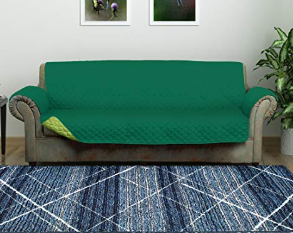 @home by Nilkamal Reversible 3 Seater Polyester Sofa Cover, Emerald and Light Green