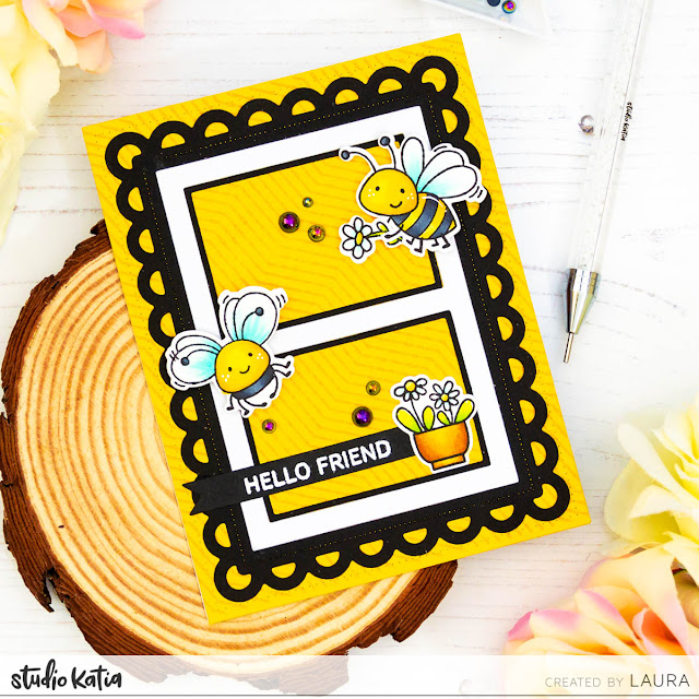 Friendship Spring Card with Custom Stamped Background and Studio Katia Honey Bees